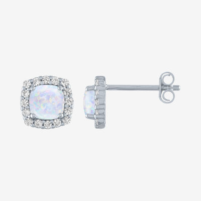 Limited Time Special! Lab Created Opal Sterling Silver 8mm Stud Earrings