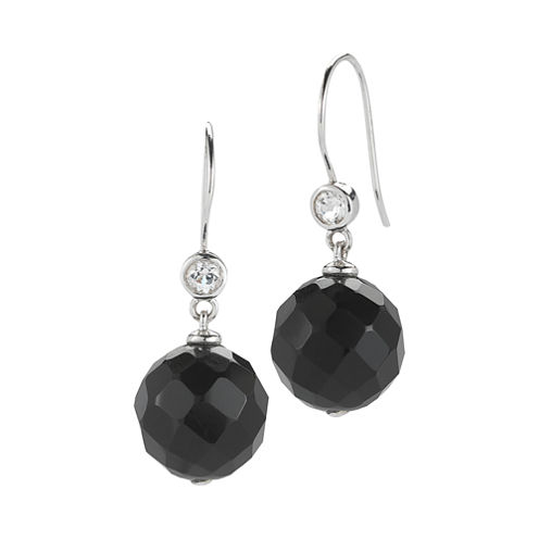 Onyx & White Topaz Faceted Drop Earrings