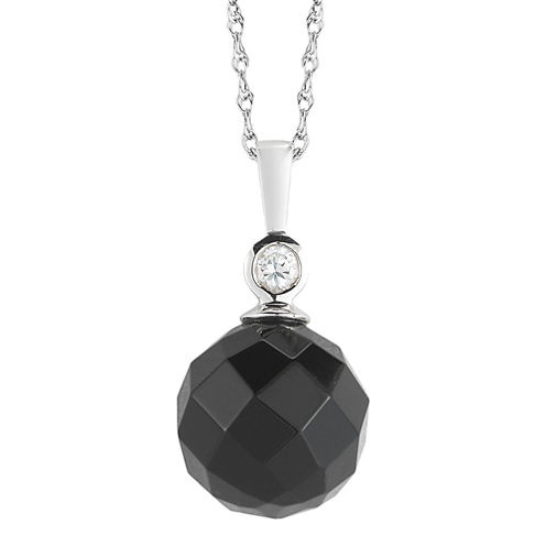 Onyx & White Topaz Faceted Drop Pendant Necklace