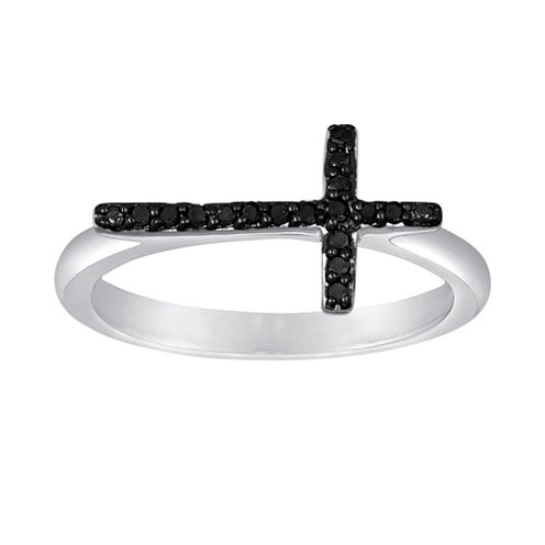 1/10 CT. T.W. Color-Enhanced Black Diamond Mini Sideways Cross Ring