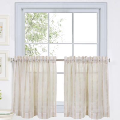Linen Stripe 2-pack Rod-Pocket Sheer Window Tiers