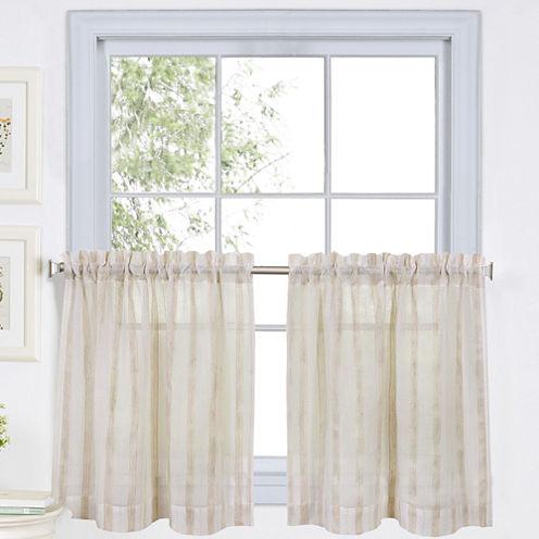Linen Stripe Rod-Pocket Sheer Window Tiers