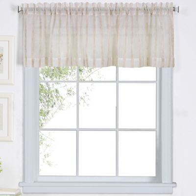 Linen Stripe Rod-Pocket Sheer Valance