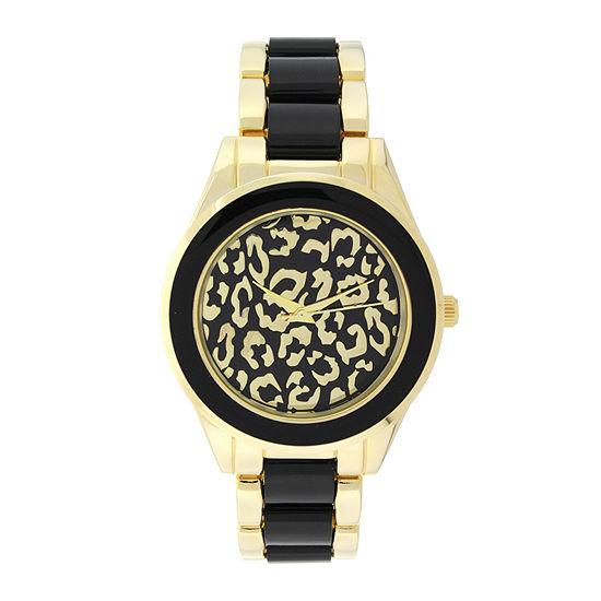 Geneva Womens Cheetah-Look Dial Gold-Tone Bracelet Watch