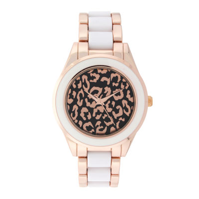 Geneva Womens Cheetah-Look Dial Rose-Tone Bracelet Watch