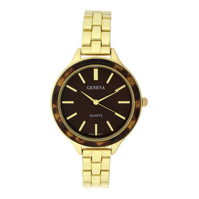 Geneva Womens Tortoise-Look Bezel Gold-Tone Bracelet Watch