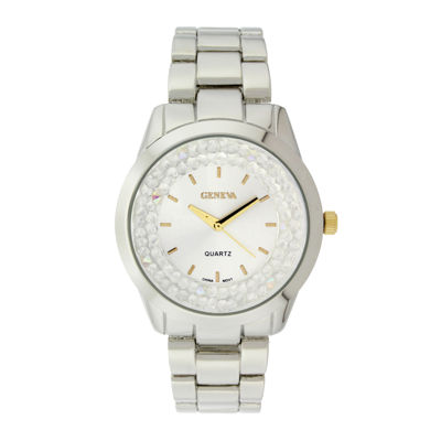 Geneva Womens Crystal-Accent Silver-Tone Dial Bracelet Watch