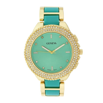 Geneva Womens Crystal-Accent Green Dial Bracelet Watch