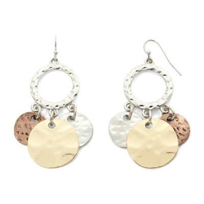 Bold Elements™ Tri-Tone Hammered Disc Shaky Earrings