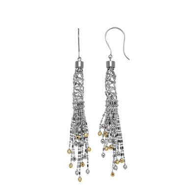 Sterling Silver and 14K Yellow Gold Fringe Bead Earrings