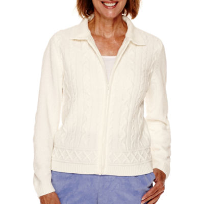 Alfred Dunner® Aurora Borealis Long-Sleeve Zip Chenille Cardigan - Petite