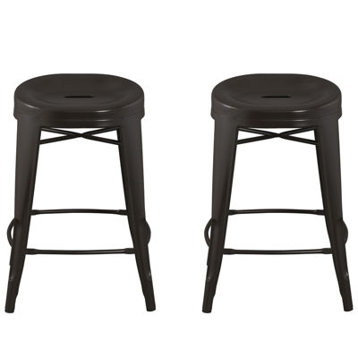 Quinn™ Contoured Set of 2 Backless Barstools