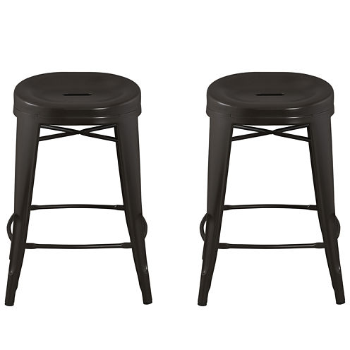 Quinn™ Contoured Set of 2 Backless Barstools
