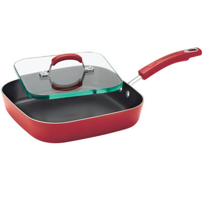 """Rachael Ray® 11"""" Porcelain Enamel Nonstick Deep Griddle Pan with Glass Press"""