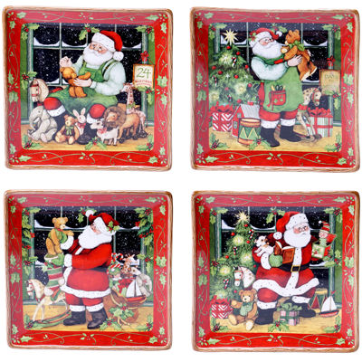 Certified International Santa's Workshop Set of 4 Dinner Plates
