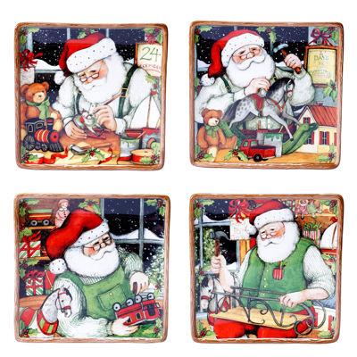 Certified International Santa's Workshop Set of 4 Dessert Plates