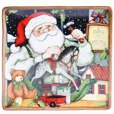 """Certified International Santa's Workshop 12½"""" Square Platter"""