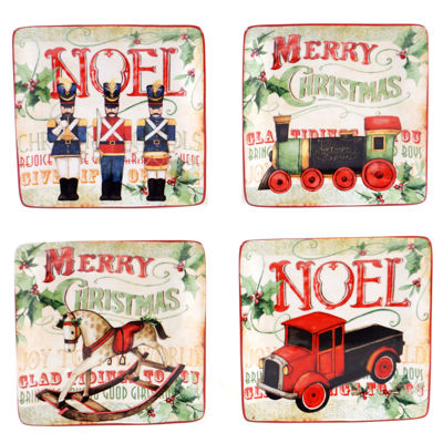 Certified International Santa's Workshop Set of 4 Canapé Plates