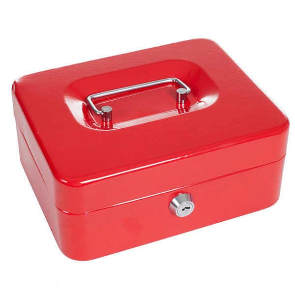 "Stalwart™ 8"" Key Lock Red Cash Box with Coin Tray"