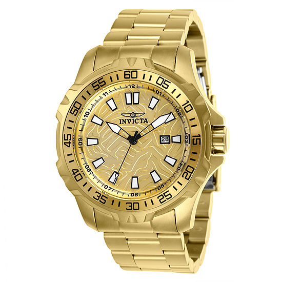 Invicta Mens Gold Tone Stainless Steel Bracelet Watch - 25786