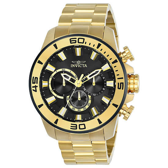 Invicta Pro Diver Mens Chronograph Gold Tone Stainless Steel Bracelet Watch-22590