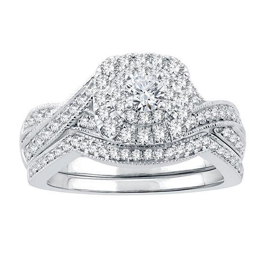 Womens Genuine White Diamond 14K White Gold Engagement Ring