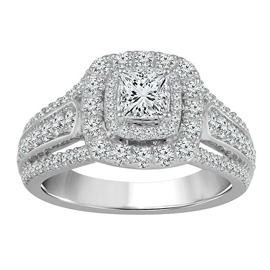 Womens 1 1 2 Ct Tw Genuine White Diamond 14k White Gold Engagement Ring