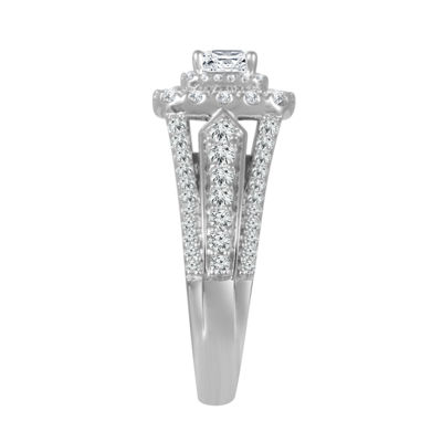 Womens 1 1/2 CT. T.W. Genuine White Diamond 14K White Gold Engagement Ring