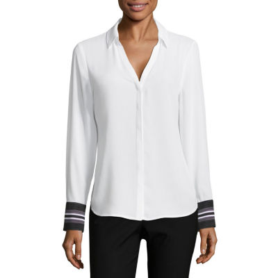 Worthington Long Sleeve Round Neck Woven Blouse