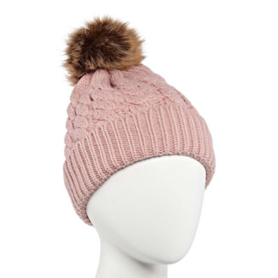 Mixit Mommy and Me Cable Faux Fur Trim Beanie