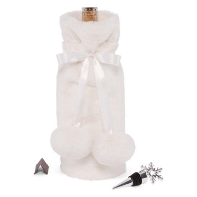 Mixit Faux Fur Wine Tote and Bottle Stopper Set