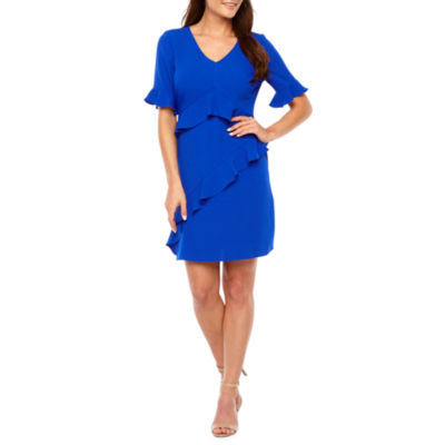 Be by CHETTA B Short Bell Sleeve Ruffle Sheath Dress
