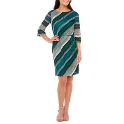Studio 1 3/4 Sleeve Stripe Shift Dress