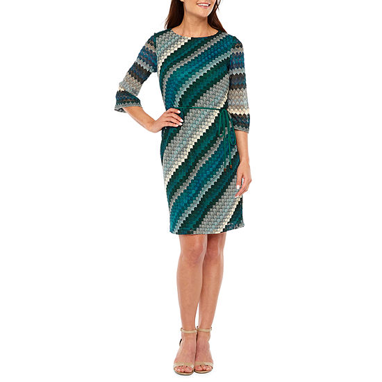 Studio 1 3/4 Sleeve Striped Shift Dress