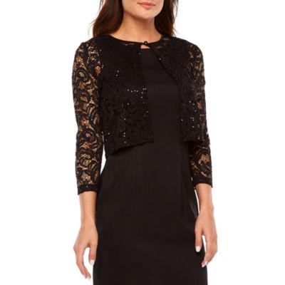 Ronni Nicole 3/4 Sleeve Sequin Lace Shrug