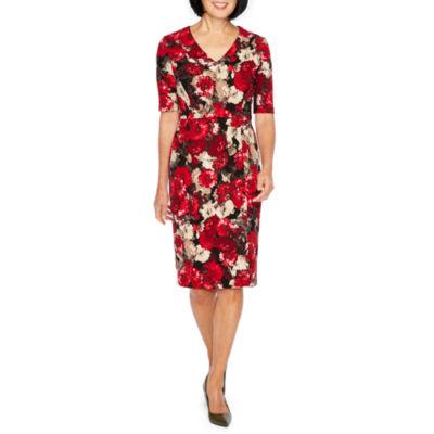 Liz Claiborne Short Sleeve Floral Sheath Dress