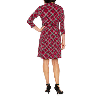 Liz Claiborne 3/4 Sleeve Geometric Wrap Dress