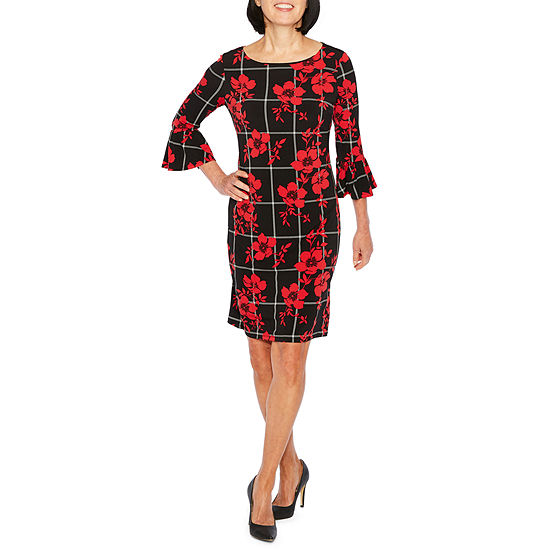 Liz Claiborne 3/4 Sleeve Floral Sheath Dress