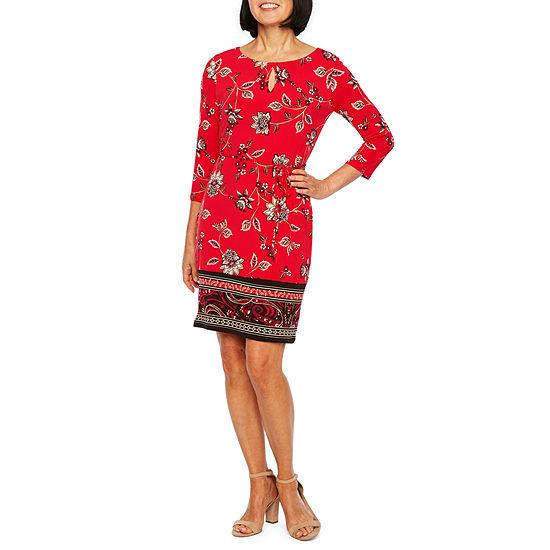ce32b7b9ab Liz Claiborne 3 4 Sleeve Floral Shift Dress JCPenney