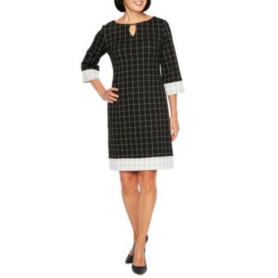 Liz Claiborne 3/4 Sleeve Grid Shift Dress