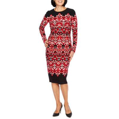 Liz Claiborne Long Sleeve Pattern Sheath Dress