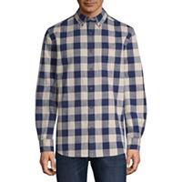 St. John's Bay Mens Collar Neck Long Sleeve Flannel Shirt Deals
