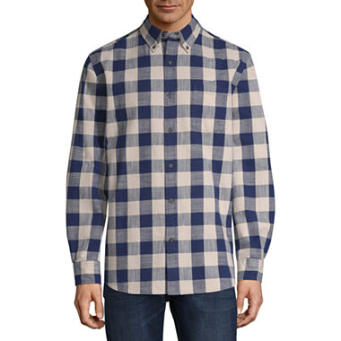 St. John's Bay Mens Collar Neck Long Sleeve Flannel Shirt