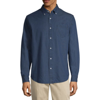 St. John's Bay Long Sleeve Dots Button-Front Shirt