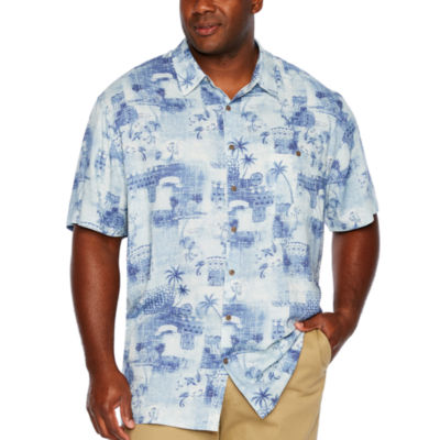 The Foundry Big & Tall Supply Co. Mens Short Sleeve Button-Front Shirt-Big and Tall