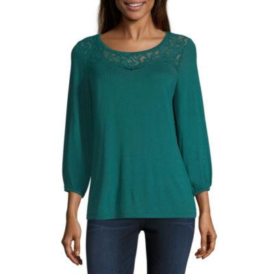 Liz Claiborne 3/4 Sleeve Round Neck T-Shirt-Womens