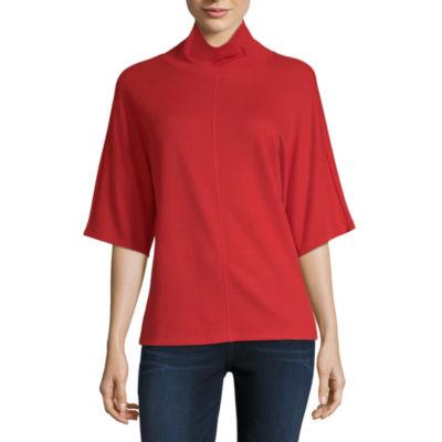 Liz Claiborne Elbow Sleeve Mock Neck T-Shirt-Womens