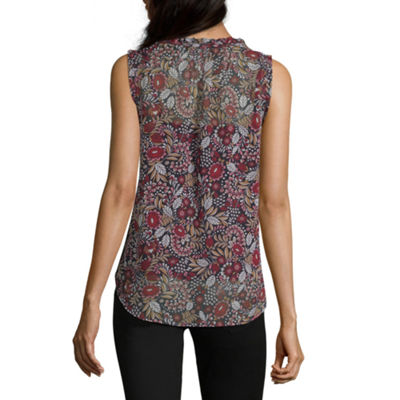 Liz Claiborne Womens Split Crew Neck Sleeveless Woven Blouse
