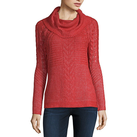 Liz Claiborne Long Sleeve Cowl Neck Pullover Sweater Jcpenney