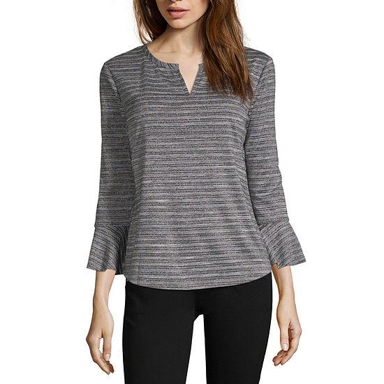 Liz Claiborne-Womens Split Crew Neck 3/4 Sleeve T-Shirt